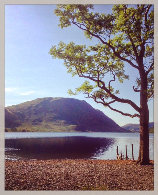Mellbreak in the background on probably the warmest day of the summer (2016). The lake is Crummock Water.