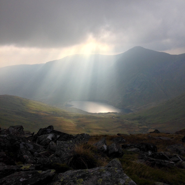 Kentmere reservoir, Yoke and Ill Bell in the fading October light.