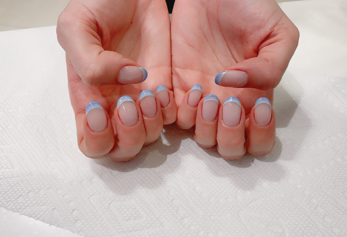 Blue Arch French Manicure