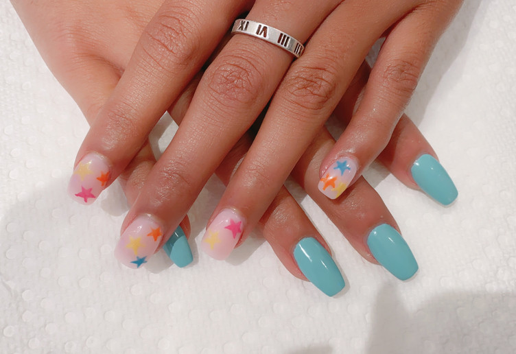 Summer Fun and Stars Manicure
