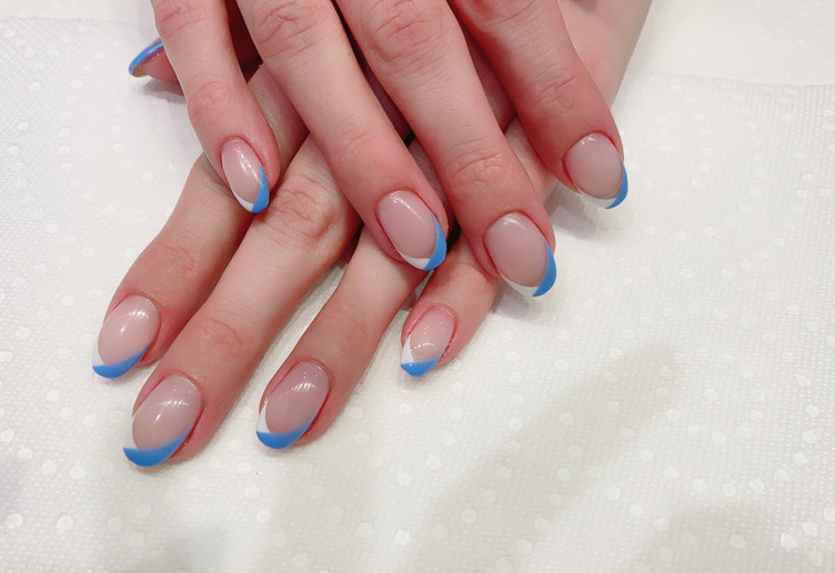 Blue and White French Tips
