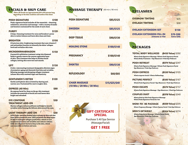 Menu of Spa Services including Facials, Skin Care, Massage and Massage Therapy, Eyelashes and Eyelash Extensions and Spa Gift Packages and Gift Certificates