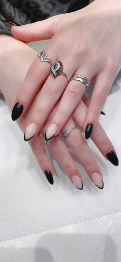 Stunning Black and French Manicure
