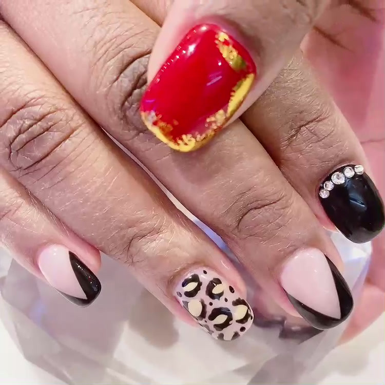 Eclectic Valentines Day Manicure