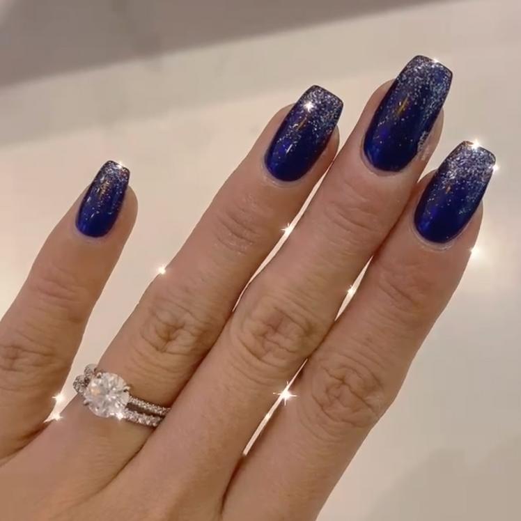 Blue Sparkle Manicure