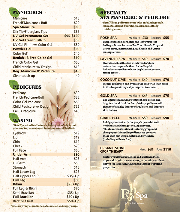 Menu of Services including Nails, Manicures, Pedicures, Waxing