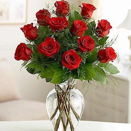 12 red roses arrangement