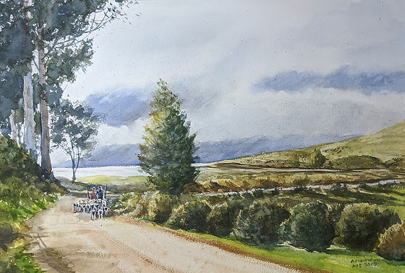 Landscape Watercolours by MR Anand Country Side