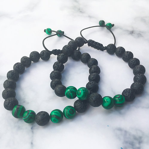 Mo's Natural Solutions Lava stone and Malachite essential oil diffuser bracelet Nigeria