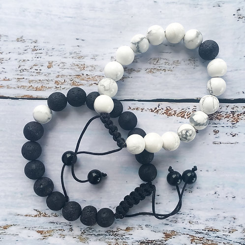 Mo's Natural Solutions Lava stone and Howlite essential oil diffuser bracelet Nigeria