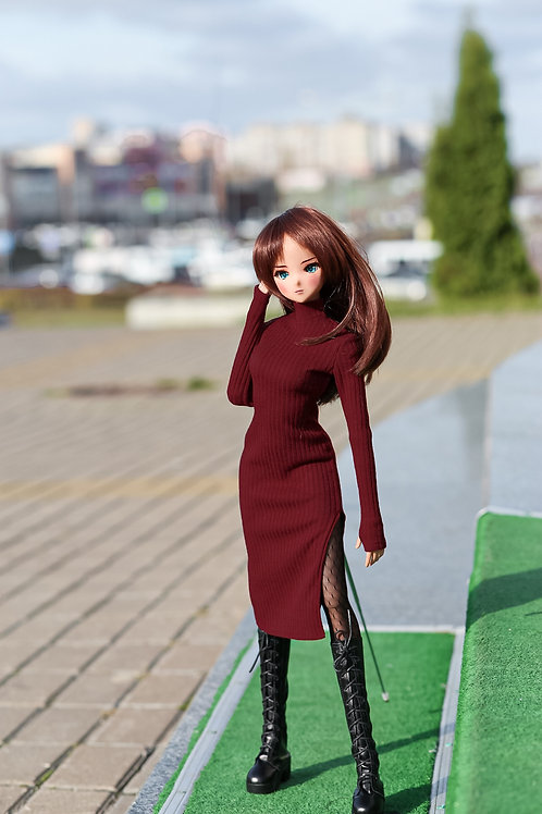 Dress  burgundy for Smart Doll, 1/3, BJD SD13