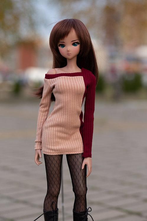 Dress  beige -burgundy for Smart Doll, 1/3, BJD SD13