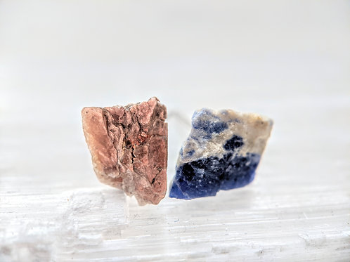 Mica and Sodalite Earring Studs