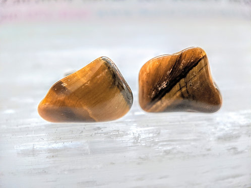 Tigers Eye Gemstone Stud Earrings