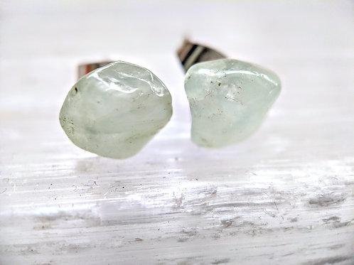 Prehnite Gemstone Stud Earrings