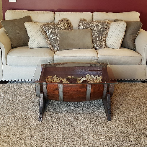 1/2 Barrel Coffee Table with Glass Top