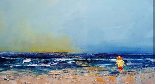 "Crab Bucket & Sunset - 18"" x 36"""