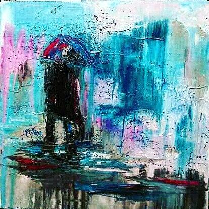 """Turquoise Rain Storm - 24"""" x 24"""""""