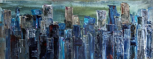 "Private Stories In Blue  - 24"" x 60"""