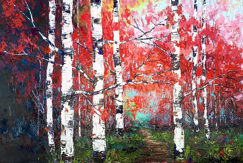 """She Was Sunlight Through The Forest- 48"""" x 72"""""""