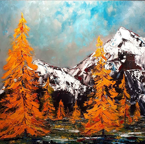"""Behind Every Mountain Stands Its Friends Looking On - 40"""" x 40"""""""