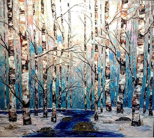 """The Snowfall Nature Listens To - 42"""" x 48"""""""
