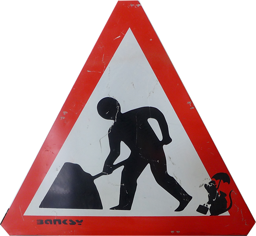 "Banksy ""Rat"" on Roadsign"