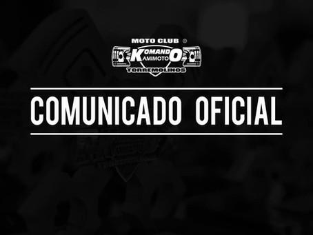 Comunicado oficial cancelación de la Concentración Mototurística 2021