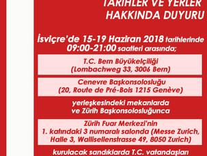 Cumhurbaşkanı Seçimi ve 27. Dönem Milletvekili Genel Seçimlerinin İsviçre bilgiler