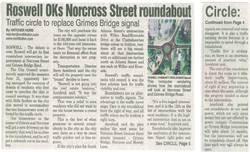 ROSWELL OKS NORCROSS STREET ROUNDABOUT