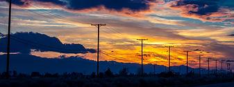 FEB 27, 2019  - Lancaster area, California, USA -Telephone polls outside of Lancaster, Cal
