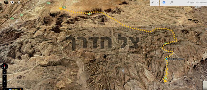 מפת טיול אופניים במעלה עקרבים