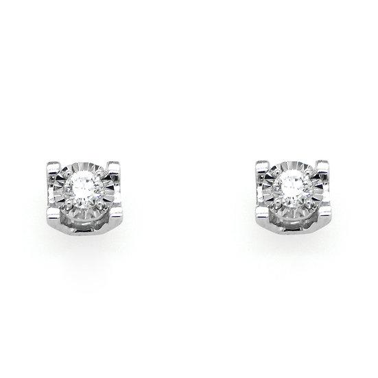 18K白色黃金圓鑽石耳環
