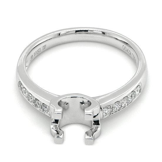 18K白金圓鑽石戒指托