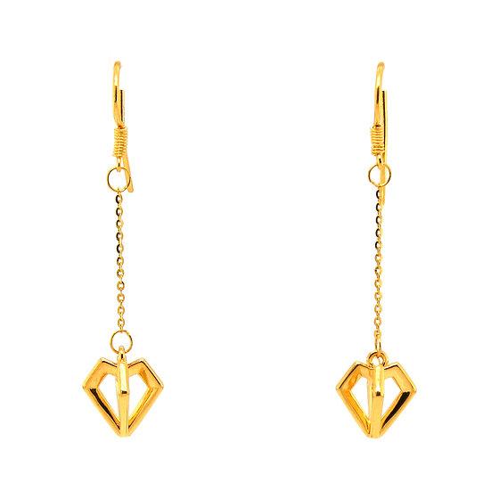 足金鑽石型耳環