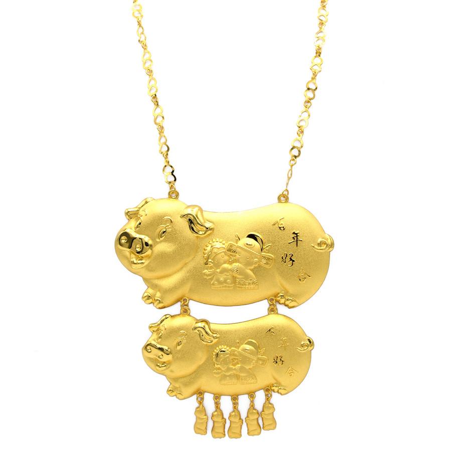 足金豬牌頸鍊