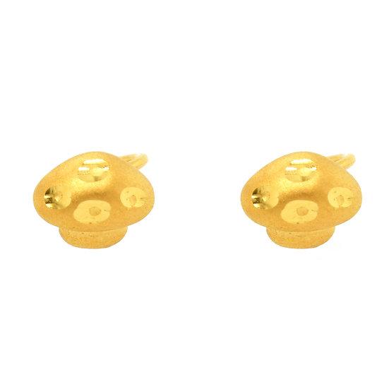 足金蘑菇耳環