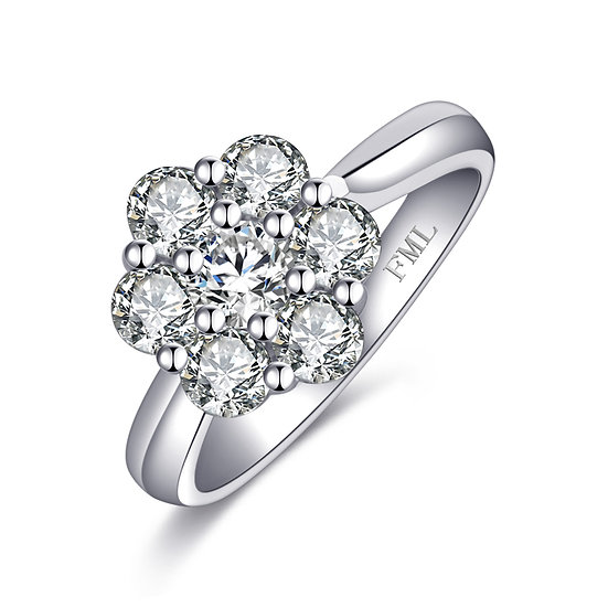 致愛系列 - 18K白色黃金鑽石戒指