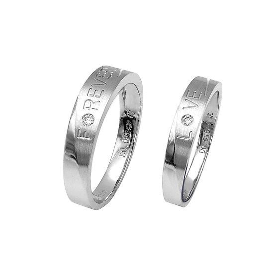 18K白色黃金圓鑽石戒子(對戒)