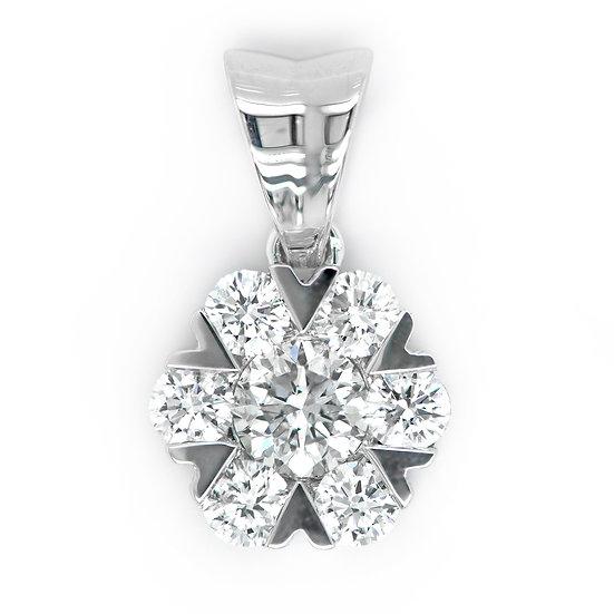 18K白色黃金圓鑽石吊墜