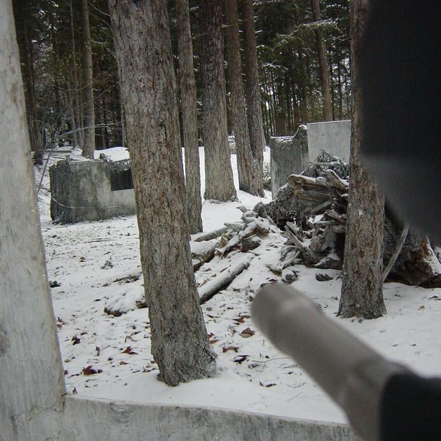 Taking aim in snow