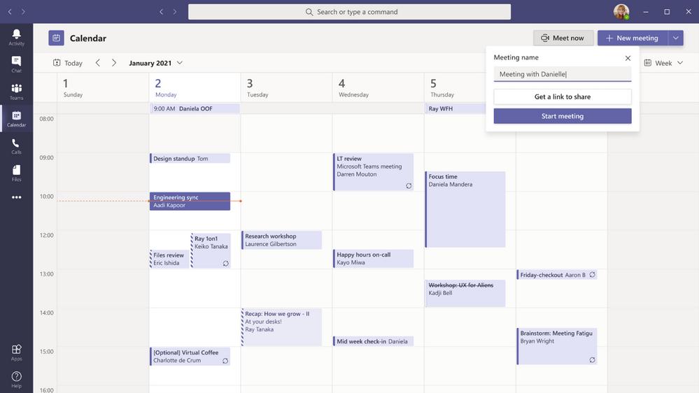 Microsoft Teams Meeting Link from calendar