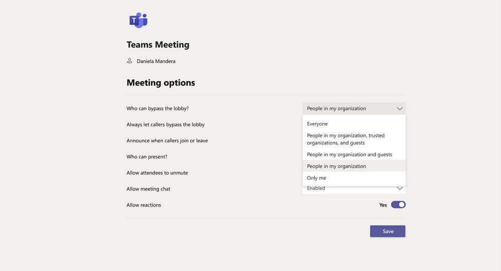 Microsoft Teams bypass lobby option