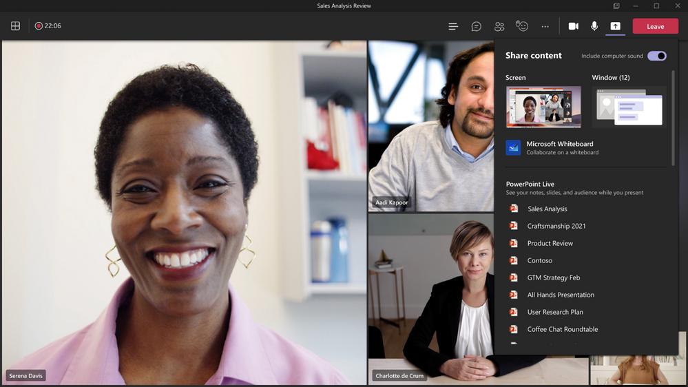 Microsoft Teams Sharing Content