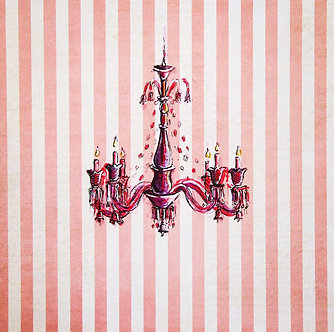 Pink Chandelier on paper