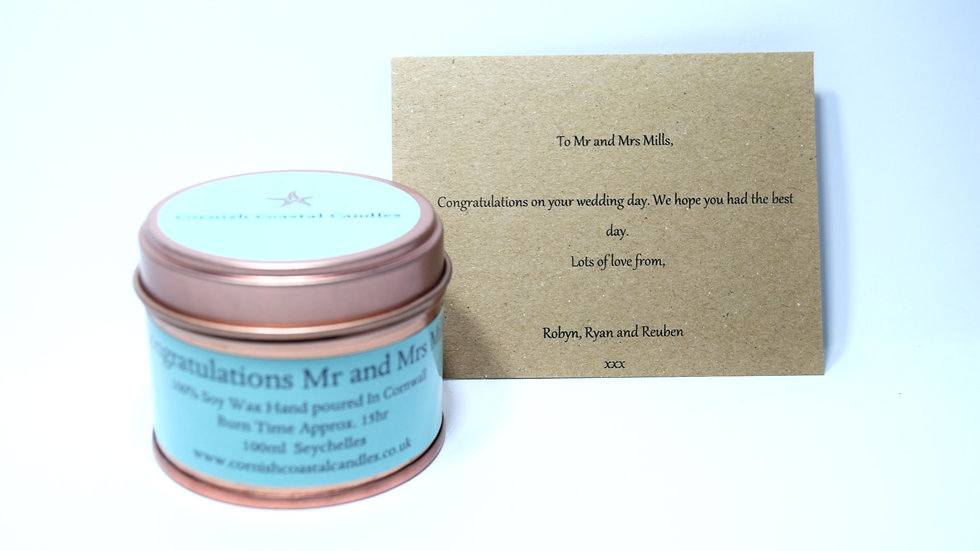 Personalised candle 100ml/250ml