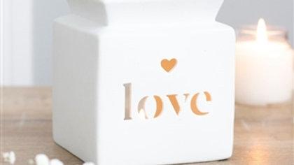 White Love Heart Wax Burner