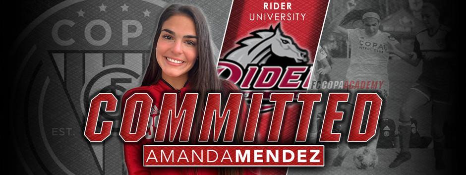 AMANDA MENDEZ, CLASS OF 2021, COMMITS TO RIDER UNIVERSITY!