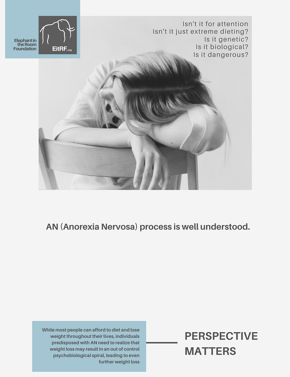 Text explaining how anorexia makes predisposed individuals lose more weight than is healthy.