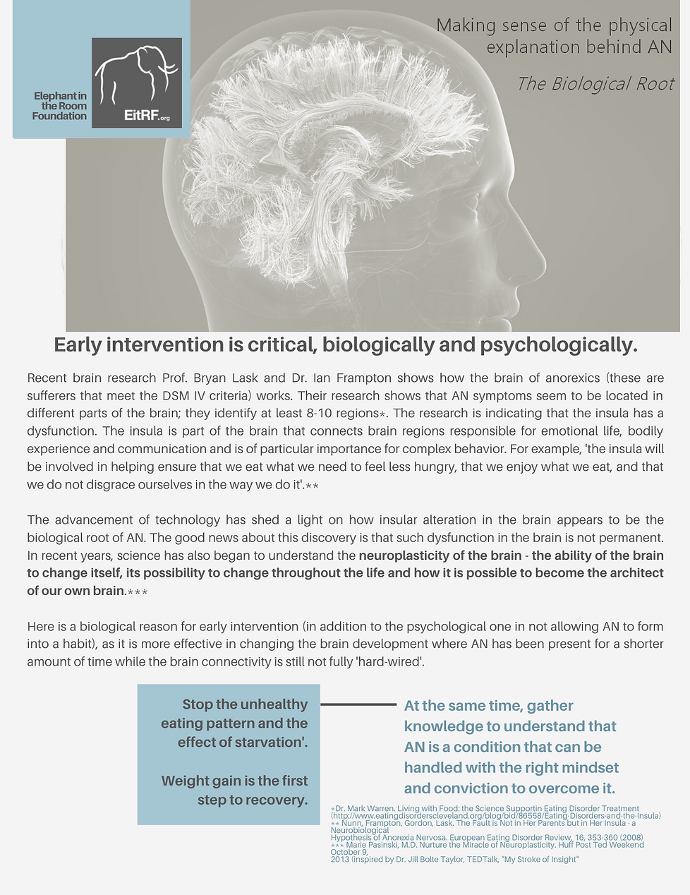 Text explaining Professor Bryan Lask and Doctor Ian Frampton's findings on the neurology of anorexia sufferers.